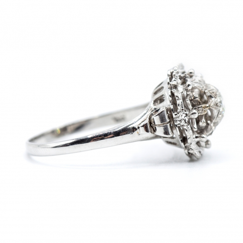 Anello vintage  con diamante taglio brillante  img - 2
