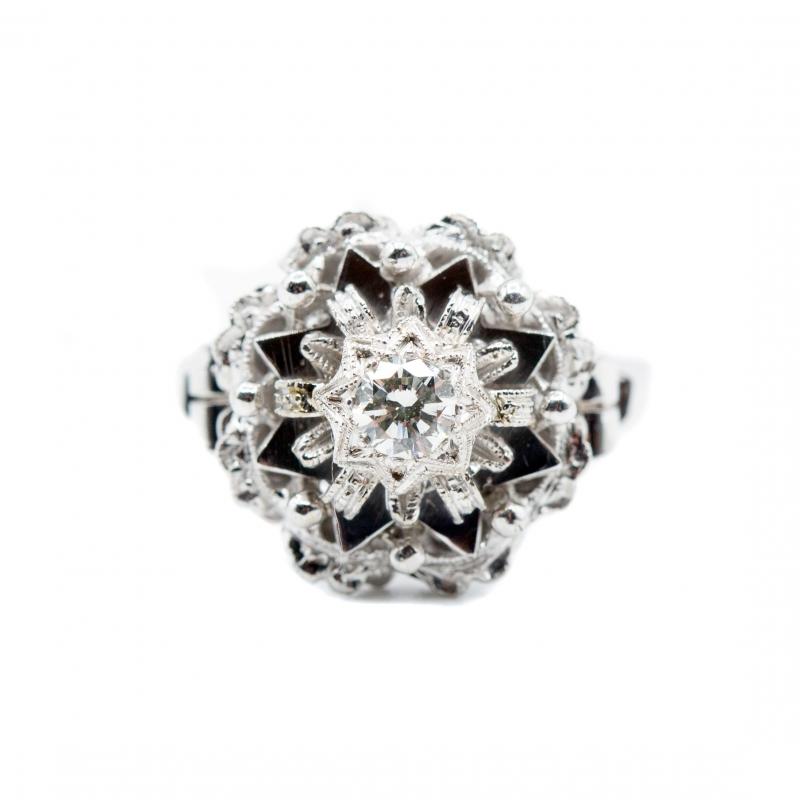 Anello vintage  con diamante taglio brillante  img - 5