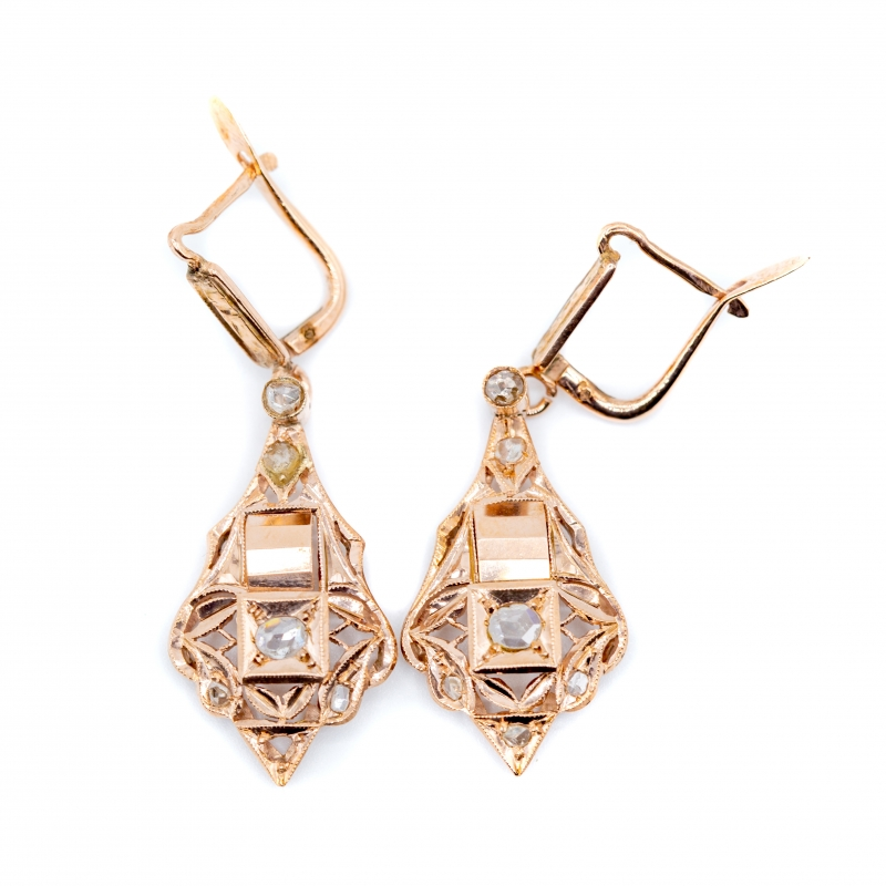 Orecchini pendenti antichi con diamante taglio rosa coronè