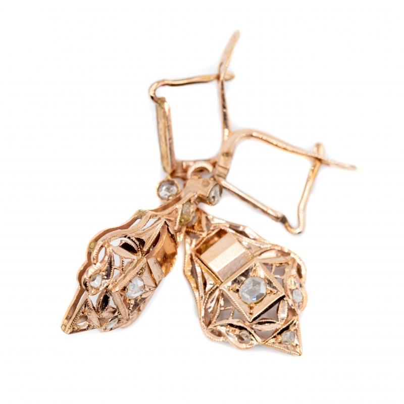 Orecchini pendenti antichi con diamante taglio rosa coronè img - 3