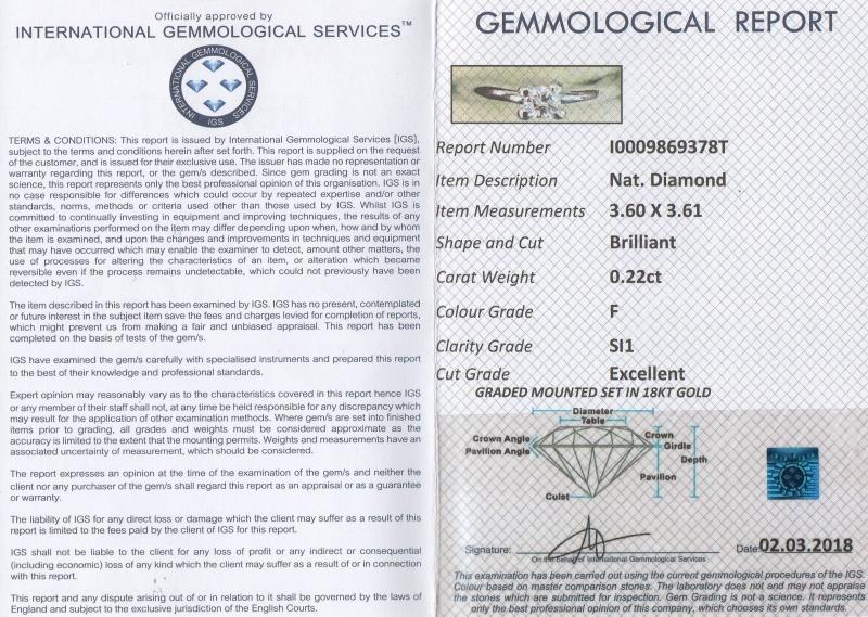 Solitario 0.22 ct  F SI1 img - 4