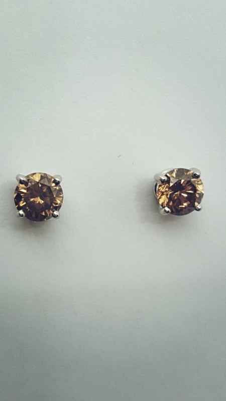 Orecchini con diamanti Fancy Brown img - 2
