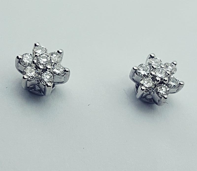 Orecchino fiore con diamanti img - 5