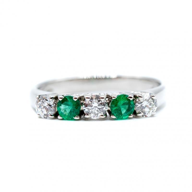 Veretta con diamanti e smeraldi